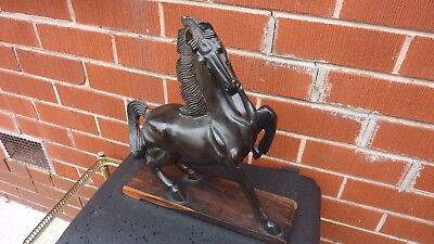 VINTAGE HAND CARVED EBONY WOODEN HORSE Statue figurine