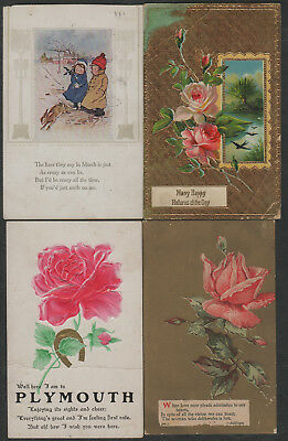 e1379)       4 x  EARLY GREETING  POSTCARDS FROM THE UNITED STATES OF AMERICA