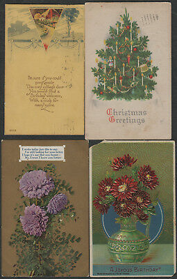 e1381)       4 x  EARLY GREETING  POSTCARDS FROM THE UNITED STATES OF AMERICA