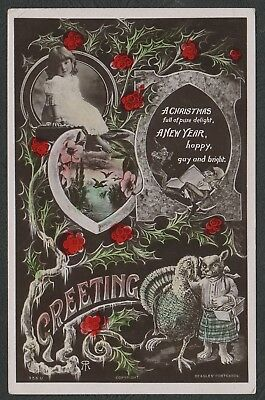 e1323)      POSTCARD FROM 1909 - CHRISTMAS & NEW YEAR GREETINGS