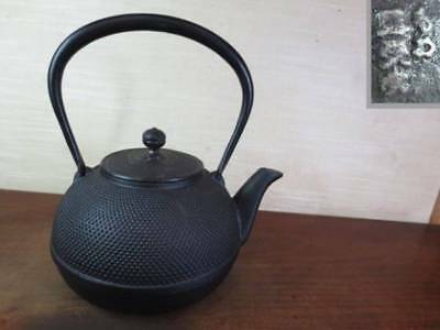 Japanese Antique KANJI old Iron Tea Kettle Tetsubin teapot Chagama 2402