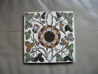 Antique Victorian Shiny Glazed Flower Patterned Tile Very Good Condition