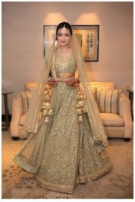 Bollywood Pakistani Indian sequin lehenga choli dupatta set Wedding dress lengha