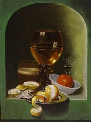 18th 19th Century Dutch Still Life Wine Glass Lemon Oysters Antique Oil Painting
