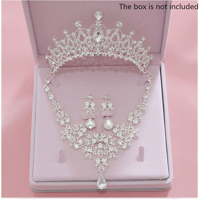 Girl Wedding Bridal Crystal Rhinestone Necklace Earrings Crown Tiara Jewelry Set