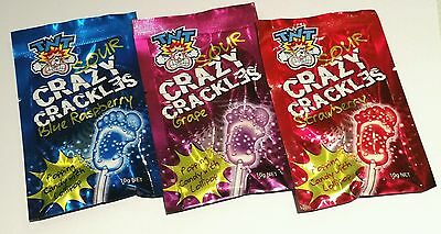 9 x TNT SOUR CRAZY POPPING CANDY POP ROCKS 10g COMBO BUY - Kids party lollies -