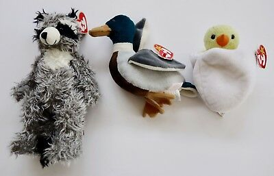3x Beanie Babies Ty – Radcliffe the Racoon, Jake the Duck and Eggbert the Chick