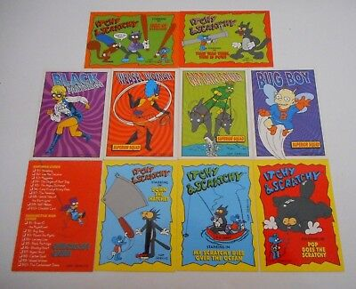 **10 x THE SIMPSONS TRADING CARDS/ITCHY AND SCRATCHY + RADIOACTIVE MAN-FREE POST