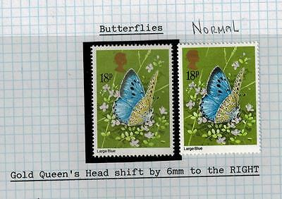 Major Shift Erro1981 Butterflies 6Mm Shift Queen's Head Block Stamp Mnh Sg1152