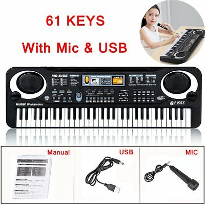 61 Key Digital Music Electronic Keyboard Toy Electric Piano Set W Mic Kids Gift