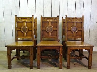 Antique Set of Gothic Style Matching Solid Carved Oak Chairs