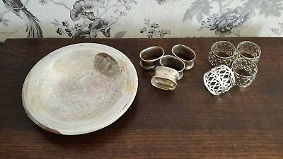 A Vintage WMF Silver Plated Bowl & 2 Sets of 4 Napkin Rings