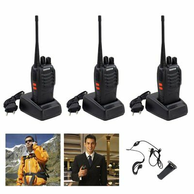 3X Baofeng Dual band Handfunkgerät Walkie-Talkie BF-888S CTCSS/CDCSS Headset UHF
