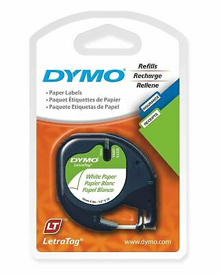 Cheapest Dymo Letratag Tape Paper on White Label 12mm x 4m 92630 Value Pack 1-20