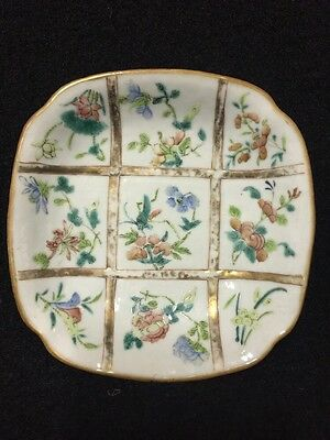 19th Century Famille Decorated Antique Chinese Dish With Iron Red Seal