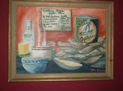Danny Doughty Painting,oysters,salty Oysters,stew,original,2001,framed,21 X 27