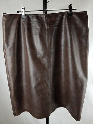 Country Road Vintage size L 14  brown leather skirt waist 90cm
