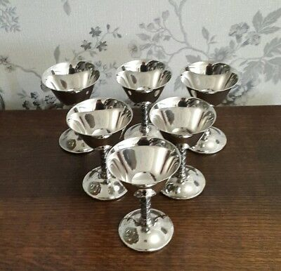 A Set of 6 Vintage Silver Plated Goblets