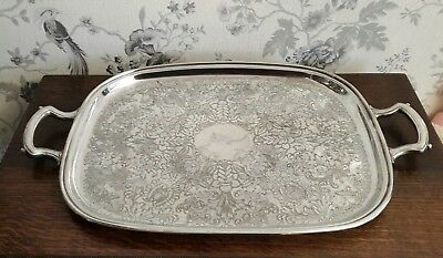 A Large Vintage Silver Plated Tray with Engraved Design