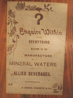 Antique Aerated Water Recipe Book. Circa1890's Ginger Beer,Codd, Microbrewery.
