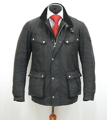 Mens Barbour International Duke Wax Jacket Black Size M