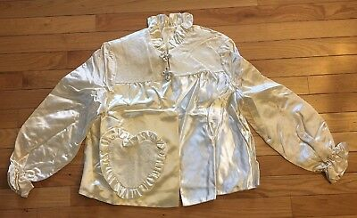 Vintage NEW 1950s Satin Bed Jacket Lace Heart Pocket Ruffle Lingerie Sweet small