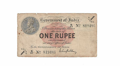 Government of India 1 Rupee 1917 King George V P-1 Fine to About Very Fine KGV