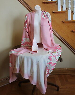 Vintage Kimono Dress Japan Japanese Costume Pink Hand Painted White Flowers