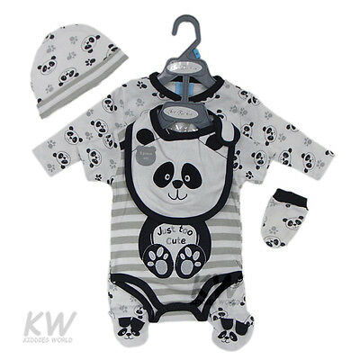Baby Boy girl Unisex 5pc Gift sleepsuit Bodysuit hat bib Mittens Panda NB 0-3-6M