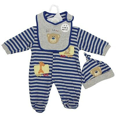 Baby Boy all in one playsuit babygro sleepsuit hat bib Bear set outfit 0-3-6-9 M