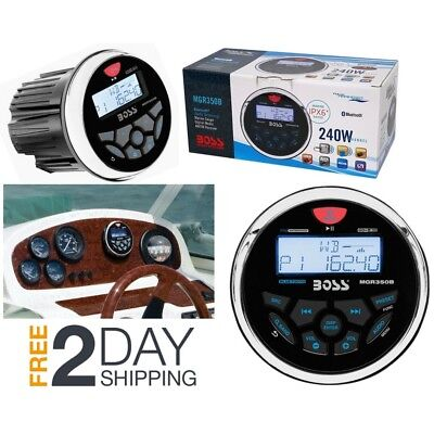 "Boss Audio MGR350B 3"" Gauge Hole Marine Bluetooth MP3 Stereo Radio Boat Receiver"