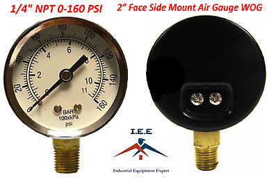 "Air Compressor Pressure/Hydraulic Gauge 2"" Face Side Mount 1/4"" NPT 0-160 PSI"