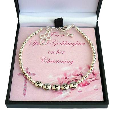 Personalised Christening Bracelet with Cross Charm, Any Girl's Name. Gift Boxed