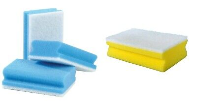 Colour Coded Finger Grip Scourers Sponges Kitchen Cleaning - Blue - Packs of 10