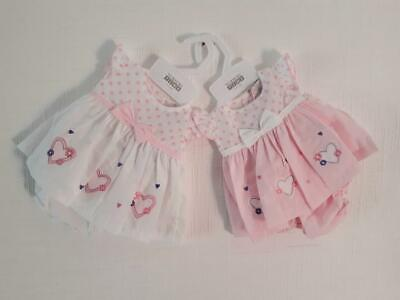 Premature Baby Girls Summer Doll Dress Outfit Pants Reborn 3/5/8 lbs Hearts pink