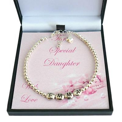 Personalised Girls Bracelet with Silver Beads, Any Girl's Name. Gift Boxed