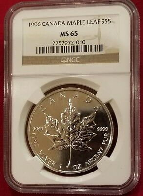 1996 Canada Maple Leaf Silver 5 Dollar Coins .9999 Purest Silver, Ngc Ms65