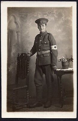 Ww1 Soldier, Medic, R.a.m.c, Studio Portrait, Local To Barry, Wales, Rppc.