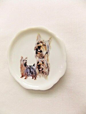Silky Terrier Dog 3 View Porcelain White Plate 2 1/2 In Magnet on BackWh