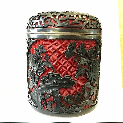 Antique Chinese Carved Cinnabar Deep Red and black Lacquer Box Enamel, scholar