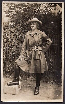 WW1 LAND GIRL PORTRAIT, POSS TIMBER CORP, GREAT IMAGE, St ALBANS,  RPPC.