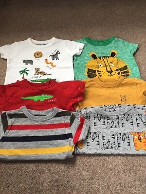 Baby Boys Pack Of 6 Tops Tshirts 6-9 Months In Good Condition