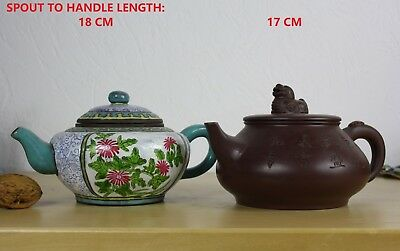 2 CHINESE YIXING PURPLE CLAY AND ENAMEL TEAPOTS 2nd. half 20 th. C.