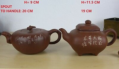 2 CHINESE YIXING PURPLE-ORANGE CLAY TEAPOTS MID 20 th. C. artist carved