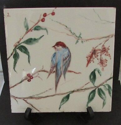 "Vintage Minton Hollins Ceramic Tile Hand Painted Bird  8.25"" Square- Lovely"