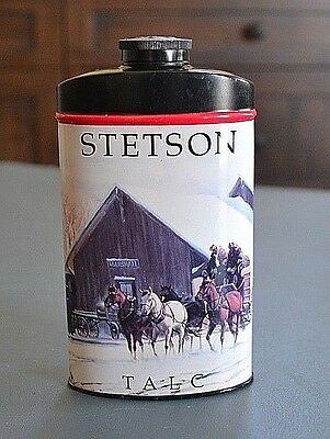 Vintage Stetson For Men Talc Powder Tin Made in England T-224 Stamped on bottom