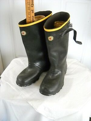 "VINTAGE MUCK BOOTS LaCROSSE RUBBER MILLS sz 7 MADE IN USA GALOSHES  14""TALL"