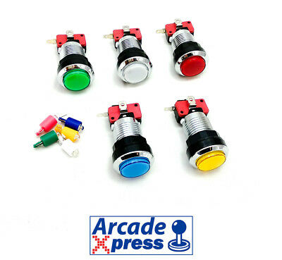 Boton Arcade iluminado LED Cromado 28mm Pulsador Pushbutton Recreativa Bartop