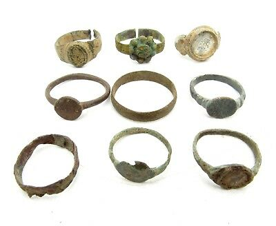Lot Of 9 Roman / Medieval Bronze Rings For Cleaning - Wearable Stunning - B559