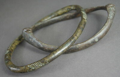2 FINE ANTIQUE SENUFO BRONZE ANKLETS / ARMBAND CURRENCY AFRICAN TRIBAL ART No.2
